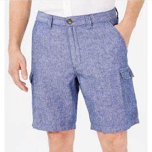 "Tasso Elba Men's Linen Blend 9"" Cargo Shorts Sz 38"